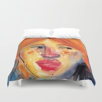 redhead Duvet Covers featuring Redhead by Danilo Gonçalves