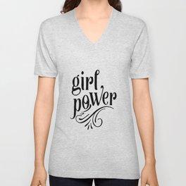 Girl power, empower girl print, GRL PWR, Feminist Art, Feminist Print, Feminist Quote, Minimalist Unisex V-Neck