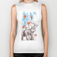 grey Biker Tanks featuring A Happy Place by Norman Duenas
