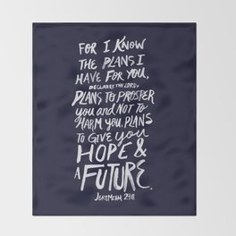 Jeremiah 29: 11 x Navy Throw Blanket