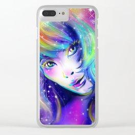 rainbow girl galaxy hair colorful eyes look Clear iPhone Case