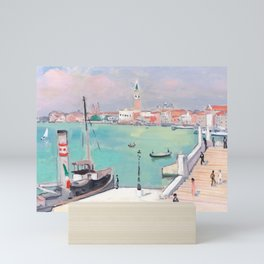 Albert Marquet - Venise, quai des Esclavons, le remorqueur à quai Mini Art Print
