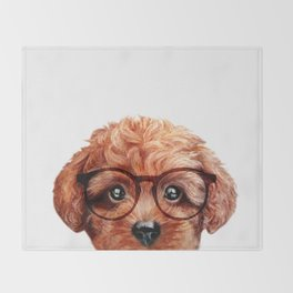 Toy poodle reddish brown with glasses Throw Blanket