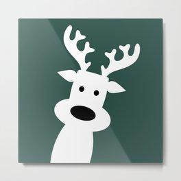 Reindeer on green background Metal Print