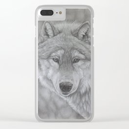 Wolf Pencil Drawing Clear iPhone Case
