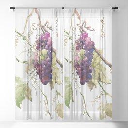 Grapes, California Vineyard Wine Lover design Sheer Curtain