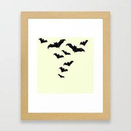 MYRIAD BLACK FLYING BATS DESIGN Framed Art Print