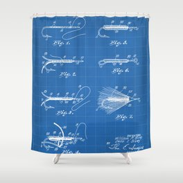 Fly Fishing Patent - Fisherman Art - Blueprint Shower Curtain