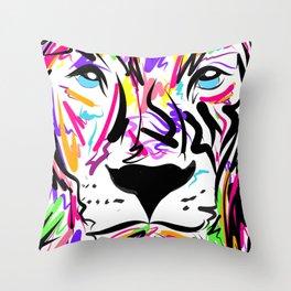 Leo Lion Lines Throw Pillow