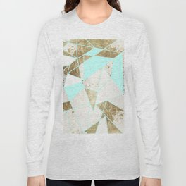 Modern Rustic Mint White and Faux Gold Geometric Long Sleeve T-shirt