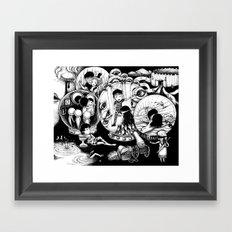 Monochrome surrealistic Illustration:Love story Framed Art Print
