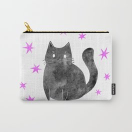 Black Cat with Pink Stars Carry-All Pouch
