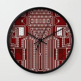 Red Geek Motherboard Circuit Pattern Wall Clock