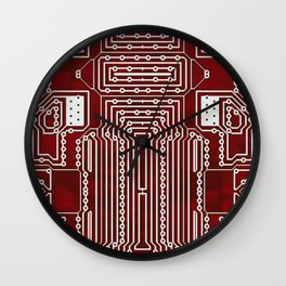 Red Geek Motherboard Circuit Pattern Wall Clock