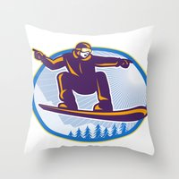 snowboard Throw Pillows featuring Snowboarder Holding Snowboard Retro by patrimonio