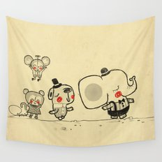 Forest Friends \ Cute Animals March\ elephant cats dogs  Wall Tapestry