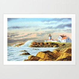 Stormy Weather Eastern Point Lighthouse Gloucester MA Art Print