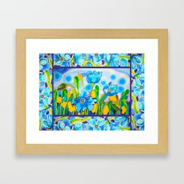 Blue Poppies 1 with Border Framed Art Print