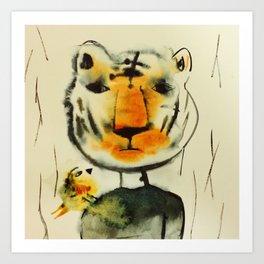 Tiger and Bird Art Print