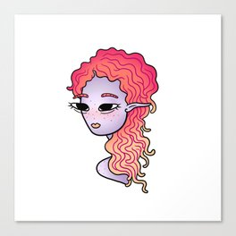 alien head illustration Canvas Print