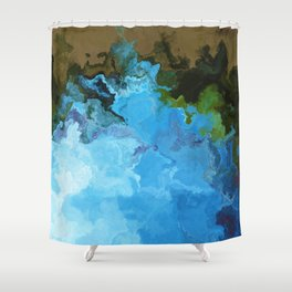 Vibrant Marble Texture no5 - Sky Blue Shower Curtain