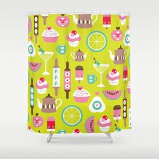 Lime cocktail party and candy kitchen food print Shower Curtain
