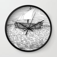 ship Wall Clocks featuring Ship by Mr.Willow