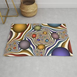 Flying Up, Colorful, Modern, Abstract Fractal Art Rug