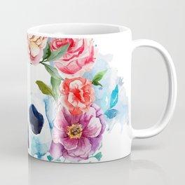 Watercolor skull & flowers Coffee Mug