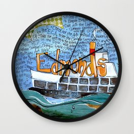 EDMONDS, WASHINGTON the town and the adventures by Seattle Artist Mary Klump Wall Clock