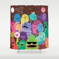 monsters Shower Curtains featuring Monsters by Maria Jose Da Luz
