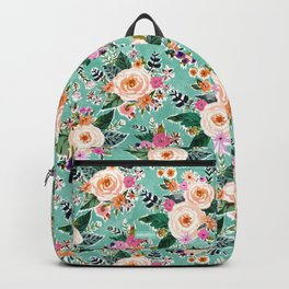 GOOD MOOD Aqua Watercolor Floral Backpack