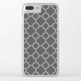 Grey Trellis Clear iPhone Case
