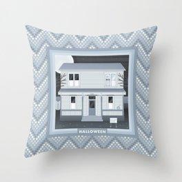 Halloween Myers House Throw Pillow
