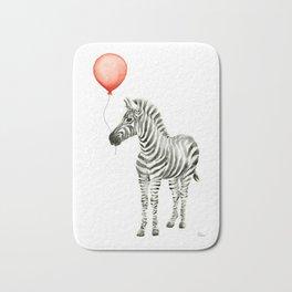Baby Zebra with Red Balloon Bath Mat