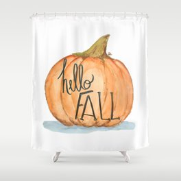 Hello fall pumpkin Shower Curtain