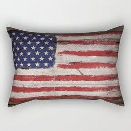 Wood American flag Rectangular Pillow