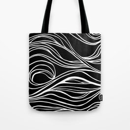 Abstract Swirling Waves / Black and White Tote Bag