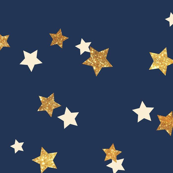 Navy blue faux gold glitter elegant starry pattern Leggings