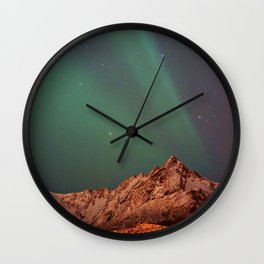 Mountains Landscape: Northern Lights - Aurora Wall Clock