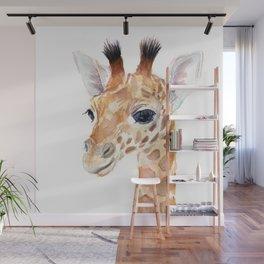 Baby Giraffe Cute Animal Watercolor Wall Mural