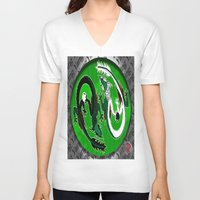 ying yang V-neck T-shirts featuring ying yang by Nerd Artist DM