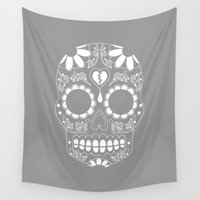 sugar skull Wall Tapestries featuring Sugar skull by TAM ♡