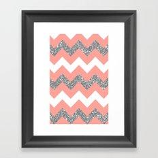 coral glitter chevron Framed Art Print
