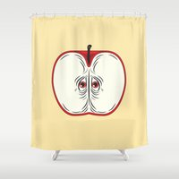 anxiety Shower Curtains featuring Anxiety Apple by Nicholas Ely