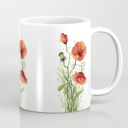 Red Poppies Watercolor Flower Floral Art Coffee Mug