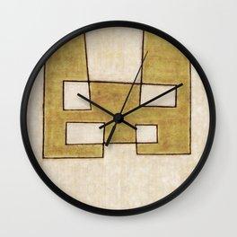 Protoglifo 06 'Mustard traverse cream' Wall Clock