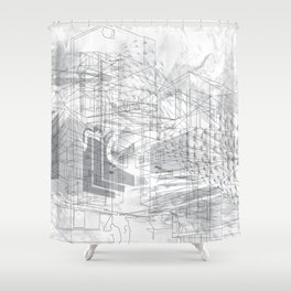 5th & Stark: Architecture & Gentrification Shower Curtain