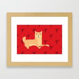 Cute japanese Shiba Inu dog lie down abstract red circle pattern wallpaper Framed Art Print