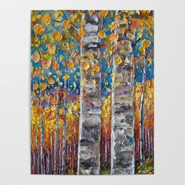 Colourful Autumn Aspen Trees Poster